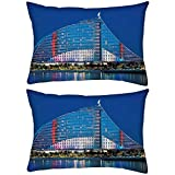 Pack of 2 Antique Structure Of Building Rectangle Toss Throw Pillow Cushion Cover Decoarative Pillow Cover 14 x 7""