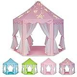 Schramm® Prinzessinenzelt in 3 Farben Prinzessin Zelt wählbar mit LED Sternen Beleuchtung Kinder Spielzelt auch als Bällezelt Bälle Kinder Zelte Spielschloß Spielzelte Spielhöhle, Farbe:Rosa mit Beleuchtung