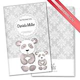 Mutter-Kind-Pass Hülle 3-teilig Motiv Black & White Schwangerschaft Geschenkidee personalisierbar mit Namen (MuKi-Pass Österreich personalisiert, Panda)