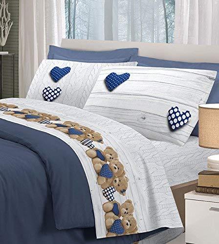Completo letto flanella,made in italy, 3 misure, colori atossici resistenti nel tempo stampa orsetti - blu - matrimoniale