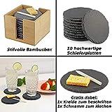 10er Set Premium Schiefer Untersetzer rund | inkl. Kreide u. Schwamm | Naturstein Schieferplatten Glasuntersetzer | Ø 10 cm - 3