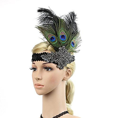 (TININNA 1920er Jahre Flapper Feder Stirnband Vintage Pfau Feder Kopfschmuck Pailletten Kristall Kopfschmuck Haarschmuck für Festzug Motto Party EINWEG Verpackung)