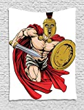 """TRUIOKO Toga Party Tapestry, Spartan Warrior with Sword And Shield Ancient Legendary Greek World Graphic, Wall Hanging for Bedroom Living Room Dorm Wall Tapestry Decor,80"""" X 60"""" Inches, Peach Red Go"""