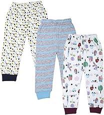 Jolipo Cotton Baby Pajama Pants Unisex with Rib (Pack of 3)