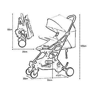 MU Comfortable Pushchairs Baby Stroller, Portable Folding Ultra Light Can Sit Reclining Shock Absorber Travel Newborn Stroller Five Colors,Khaki   14