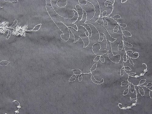 Bestickte Baumwoll-voile Kleid (Floral Lurex bestickt Baumwolle Voile Stoff grau, Pro Meter)