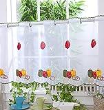 Voile cortina de visillo paneles–D6–Trio Peppers–18'–Cortinas para Cocina