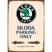 Skoda Parking only blechschild auto motorrad park schild