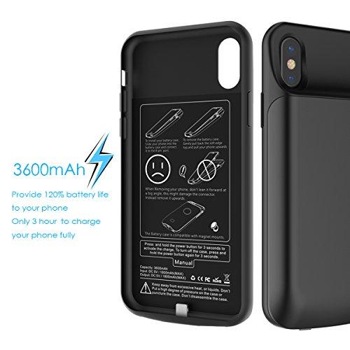 Custodia Batteria iPhone X, BasicStock 6000mAh Li-Polymer Ultra Sottile portatile Ricaricabile Esterna Integrata Power Bank Charger Juice Pack ...