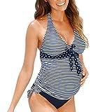 OverDose Damen Übergröße Mutterschaft Tankinis Frauen Dot Print Bikinis Badeanzug Beachwear Schwangerer Anzug Swimsuit Beachwear (Blau,3XL)