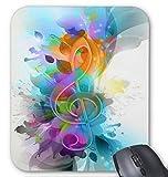 Gaming Mouse Pad Schöne bunte und coole Splatter-Musiknote Design für Desktop und Laptop 1 Packung 30x25 cm / 11.8x9.8in