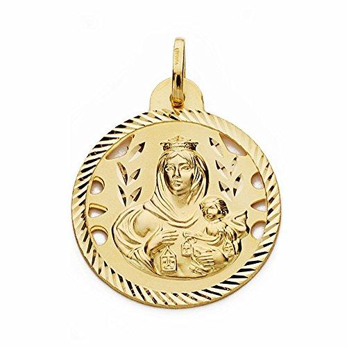 Medalla Oro 18K Virgen Del Carmen 24mm. Calada Cerco Tallado [Aa2472]