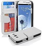 Cadorabo - Book Style Hülle für Samsung Galaxy S3 / S3 NEO (I9300) - Case Cover Schutzhülle Etui mit 3 Kartenfächern in MAGNESIUM-WEIß