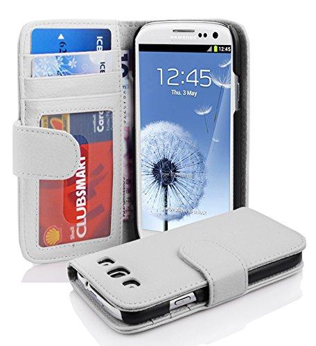 Cadorabo Custodia Libro per Samsung Galaxy S3 / S3 NEO in BIANCO FLOREALE – con 3 Vani di Carte e Chiusura Magnetica – Portafoglio Cover Case Wallet Book Etui Protezione
