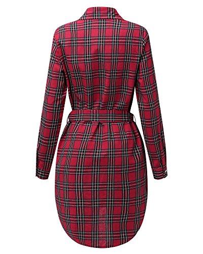 StyleDome Donna Camicia Lunga a Quadri Vestito Abito Manica Lunga Cintura Casual Elegante Sexy Rosso