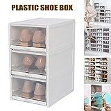 Alexsix Lot de 3 boîtes de Rangement empilables en Plastique Transparent pour Chaussures