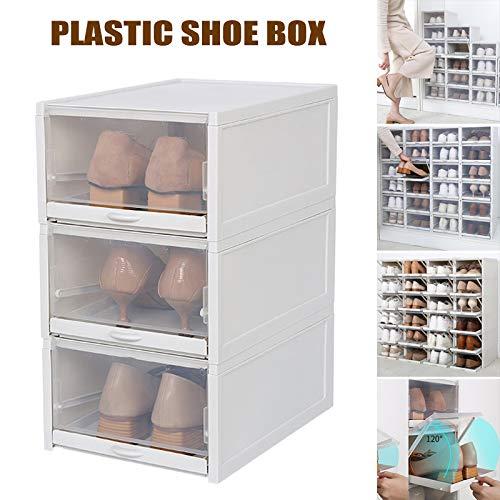 Leobtain Shoe Box 3PCS Shoe Storage Foldable and Stackable Shoe Boxes Clear Women Men Hight Quality...