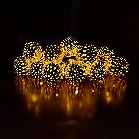 POTOK Solar String Lights, 15ft 20 LED Warm White Moroccan Ball Fairy Orb Lantern Christmas Solar Powered String Lights for OGarden Path, Party, Bedroom