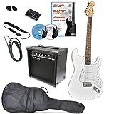 Clifton a050788Set guitare électrique avec DVD d\'apprentissage, tuner, karaoké, CD Songbook, amplificateur, médiators, sangle, câble, Olympic Blanc