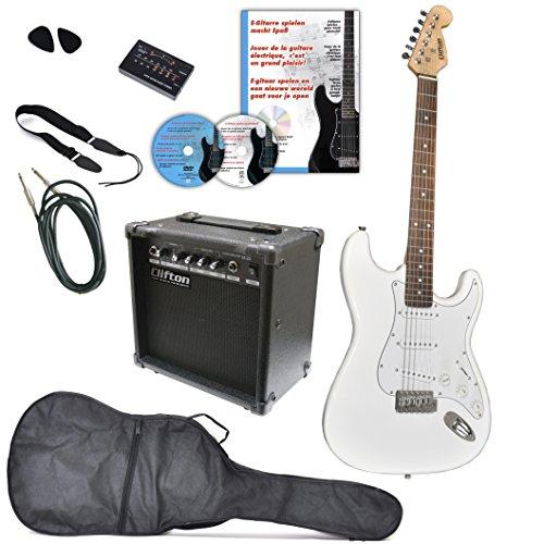 Clifton A050788 E-Gitarren Set mit Lern DVD, Karaoke, CD Songbook, Verstärker, Tuner, Plektren, Gurt, Kabel, Olympic Weiß
