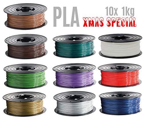 10x 1kg PLA Filament Rolle 1,75mm 10 Farben X-MAS SPECIAL für 3D Drucker 3D Printer oder Stift 10er Set (10Kg)