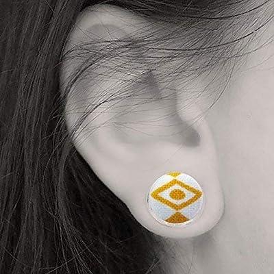 bijoux oeil Egyptien Puce d'oreille clou yeux stylisés jaune moutarde sur support argenté 12mm - cadeau amulette protection porte bonheur chance gris gris