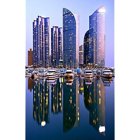 Skyline di Busan Asia Sud Corea Night At Home Decor-Poster da parete, 33 x 53 cm