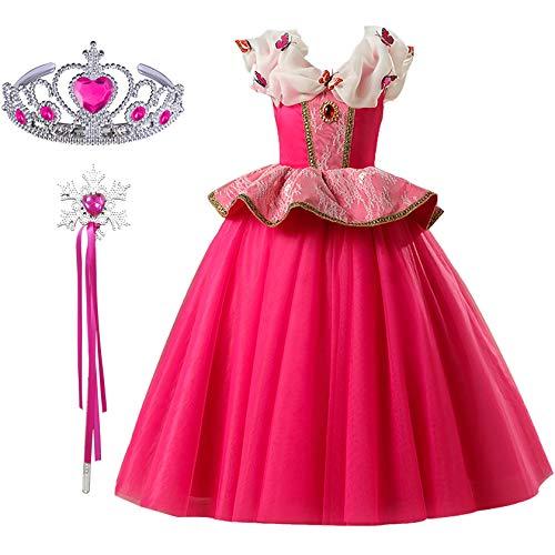 FStory&Winyee Mädchen Prinzessin Aurora Kostüm Set Diadem und Zauberstab Kinder Prinzessin Kleid für Karneval Cosplay Party Rosa mit Schmetterlinge Partei Weihnachten Hochzeit Fasching Kostüm Geschenk