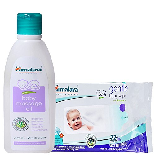 Himalaya Herbals Baby Massage Oil (200ml)+Himalaya Herbals Gentle Baby Wipes (72 Sheets)