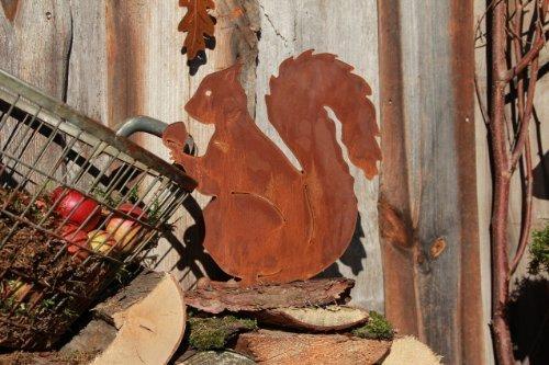 écureuil en Patine sur plaque Décoration automne