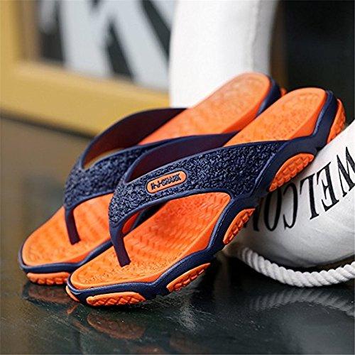 Herren Zehentrenner Flip Flops Fußbett Naturkautschuk Massage Rutschfeste Sohle Sommer Flip Pantoffeln Für Pool Strand Urlaub Orange