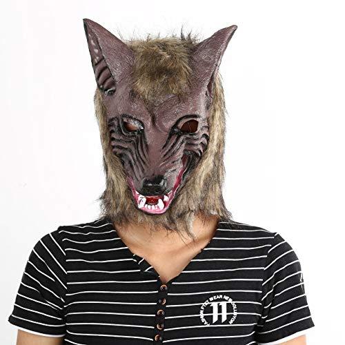 (bvggfhcvbcgvh Erwachsene und Kinder Latex Tier Wolfskopf mit Haarmaske Kostüm Party Scary Halloween mit Grauer Farbe (gelb))