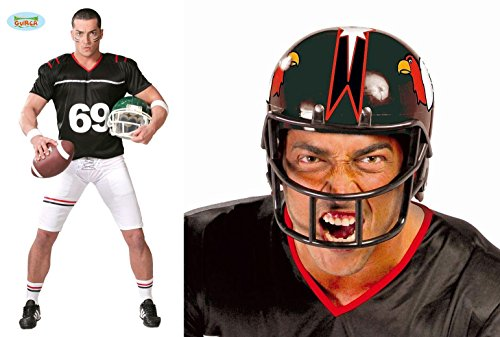 2 Teile KOMBI SET - FOOTBALL SPIELER - ( Kostüm, Größe 52-54 (L) + Helm, schwarz ), Nationalsport Sportart Player Spieler Sportler Quarterback NFL USA Trikot Cheerleader (Kostüme Spieler Und Cheerleader Football)