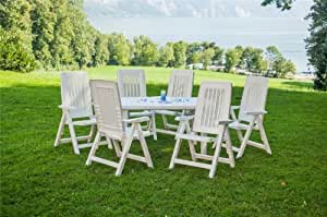 Table de jardin, plastique, set 7 pièces, 140x80 cm avec 6 chaises pliantes, blanc/blanc