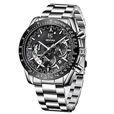 BENYAR Mens Relojes Cronógrafo Analógico Cuarzo Dial Esqueleto Reloj Hombres Correa de Acero Inoxidable 30M Impermeable Regalo Elegante