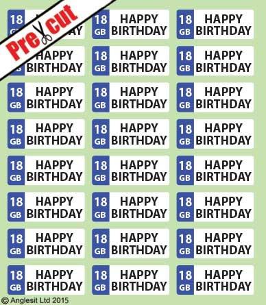 * vorgeschnittenen Happy 18. Geburtstag Nummernschild essbarem Reispapier/Wafer Papier Tasse Kuchen Topper Party Dekoration
