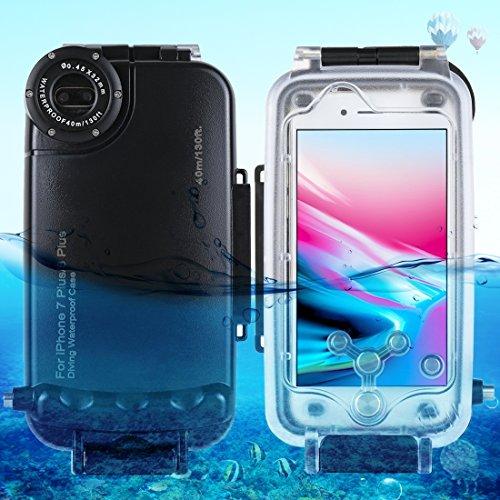 Fone-Stuff iPhone 8 Plus, 7 Plus Wasserdichte Tauchgehäuse, Tiefsee-Tauchen 40m / 130ft Unterwasserfotografie Handyhülle Schale - schwarz
