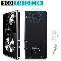 Mymahdi - Lettore MP3 8 GB (espandibile fino a 128 GB), lettore musicale/registratore vocale a tasto unico/radio FM con 70 ore di riproduzione con cuffie esterne HD, nero