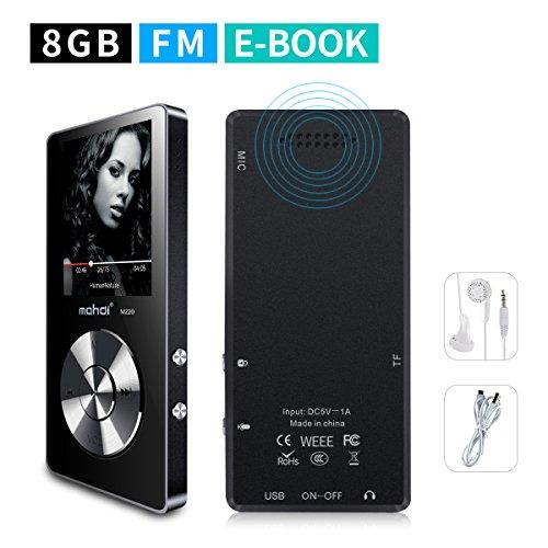 Mymahdi tragbarer MP3-Player, 8 GB (erweiterbar auf bis zu 128 GB), Sprachaufzeichnung auf Knopfdruck, UKW-Radio, Wecker, A-B-Wiederholung, E-Book-Reader, Silber
