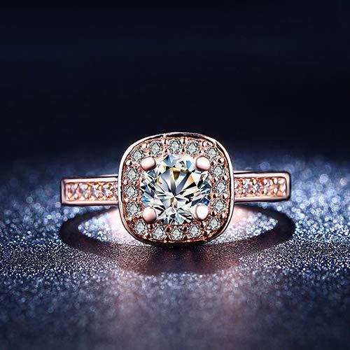 Achidistviq nozze gioielli anello donna \ 's 9k placcato oro bianco zircone strass fidanzamento, rose gold, us 5