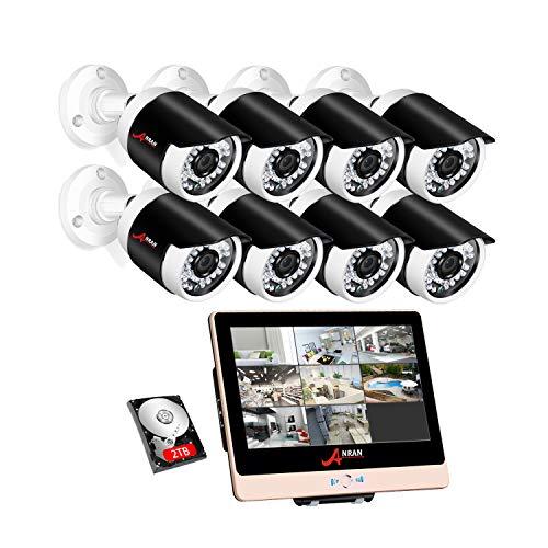 ANRAN PoE Überwachungskamera Set mit 2TB Festplatte, 1080P 8CH Videoüberwachung LCD PoE NVR mit 8pcs1080P Outdoor PoE Bullet IP Kameras Überwachungskamera, Fernzugriff, Bewegungserkennung