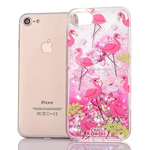 Copertura per iPhone 7 Specchio, iPhone 7 Custodia TPU Silicone,Case Cover per iPhone 7 in 3D Trasparente,Ukayfe Oro rosa Mirror Specchio Flowing Sparkles Shinny Glitter Scintillio Bling Stars Polvere Flamingo #2