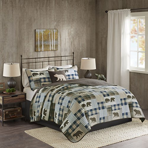 Woolrich Quilt Set, Brown/Blue, Lime King