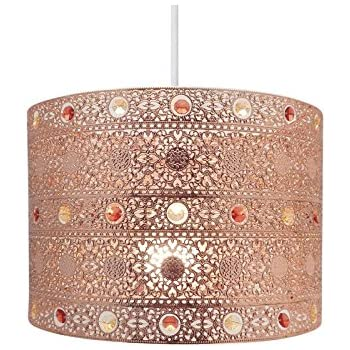 Copper Gem Moroccan Style Chandelier Ceiling Light Shade Fitting Round  Universal, Plastic/Metal,
