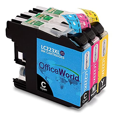 OfficeWorld Compatible Ink Cartridges Replacement for Brother LC223 XL Color Compatible with Brother DCP-J4120DW J562DW MFC-J480DW J680DW J880DW J4420DW J4620DW J4625DW J5320DW J5620DW J5625DW J5720DW (1 Cyan,1 Magenta,1 Yellow)