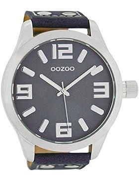 Oozoo Herrenuhr mit Lederband 51 MM Blaugrau/Blaugrau C1012