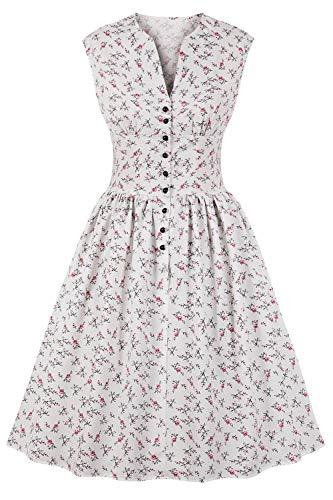 MisShow Robe Femme Vintage Courte Mi Longue Rockabilly Pin up avec Bouton sans Manche Robe Femme Courte Cérémonie Blanc XL