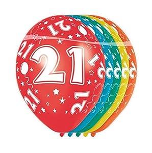 Folat - Globos con el número 21 (5 unidades, aptos para helio)