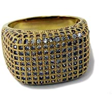 Anillo para Hombre Chapado en Oro con Incrustación de Diamantes Imitación Clase A Estilo HipHop/Bling