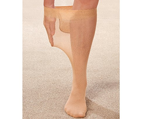 MySmartBuy Set aus 2extra breit bei Top Plus Größe Knie hoch Sheer Kompression Socken in Nude